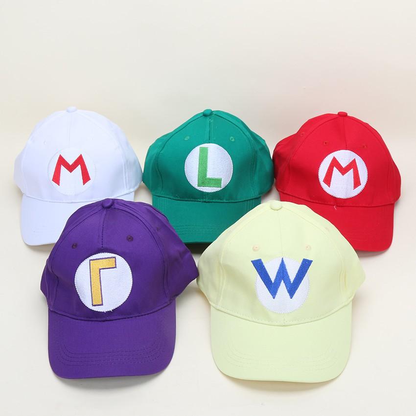 45fd168fb Mario Luigi Hats 21.3'' Adjustable Super Mario Bros Baseball Hat Caps Red  Green Purple Yellow White 5 colors
