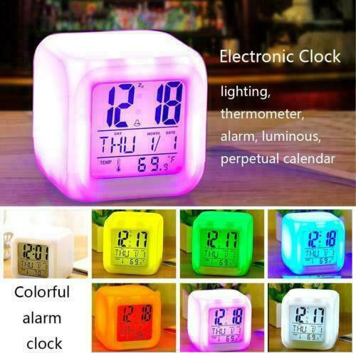 7-Colour Changing Digital LED Alarm Clock with Snooze Large Display Night Lights