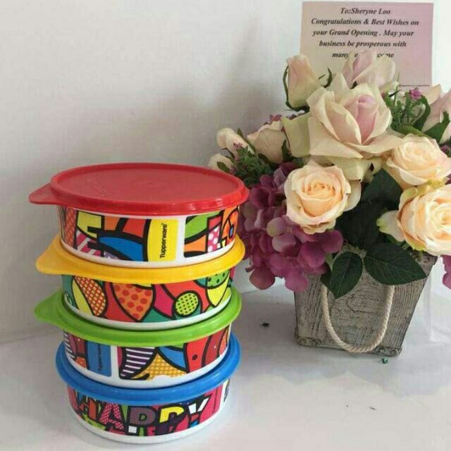 Tupperware Jumbo Handy Bowl With Prints 4pcs