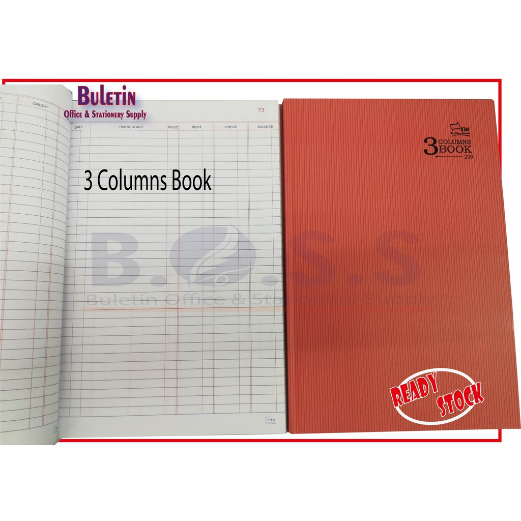 Uni Paper 3 Columns F4 Hard Cover Book with Page Numbering