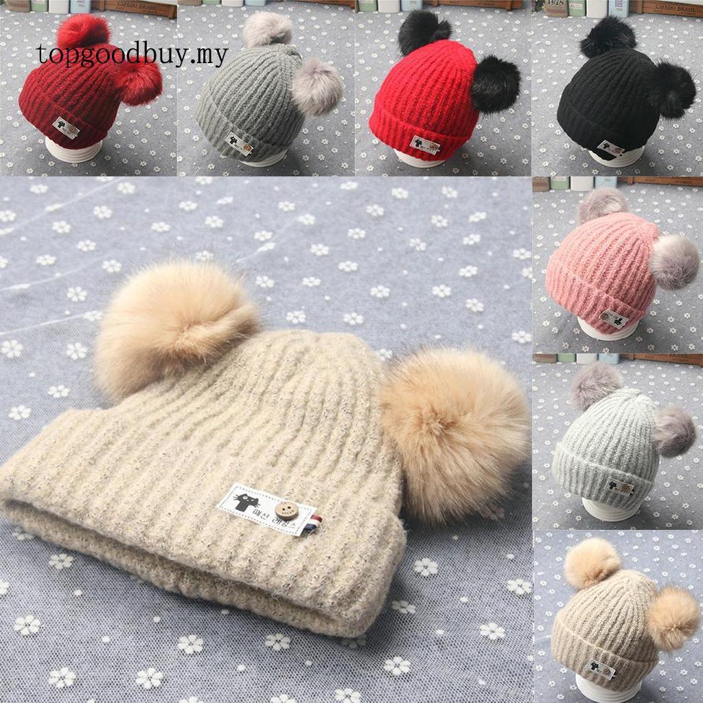 982c1885e te Two Pom-pom Ball Hat Beanie Hat Cap for Kids Fall Winter   Shopee ...