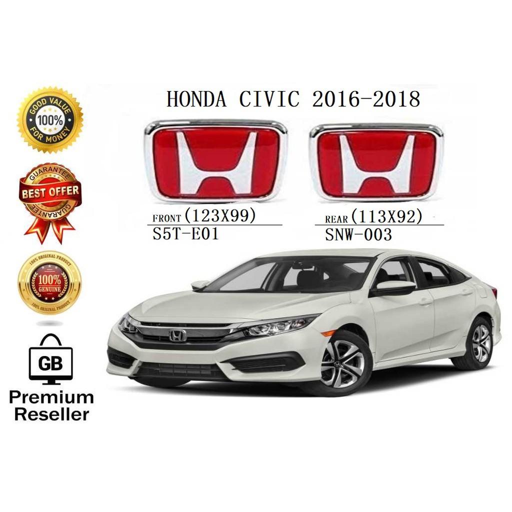 GB-STORE 100% [ORIGINAL] HONDA CIVIC LOGO 2016-2018 FRONT&
