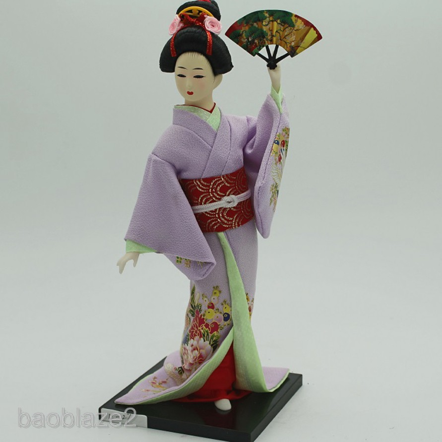 12inch Japanese Geisha Doll Kabuki Wearing Yellow Kimono Gift Collectible
