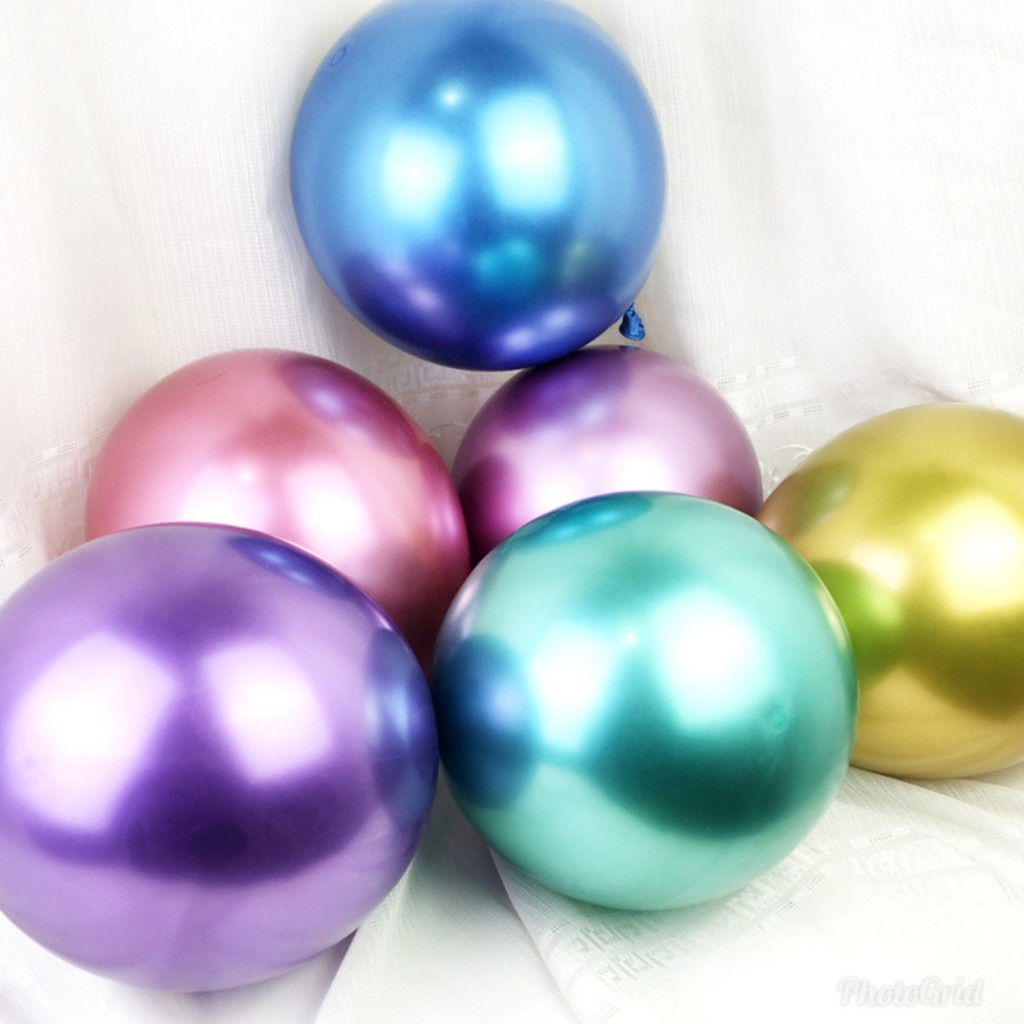 12inch New Glossy Metal Pearl Latex Balloons Thick Chrome Metallic Colors Shopee Malaysia