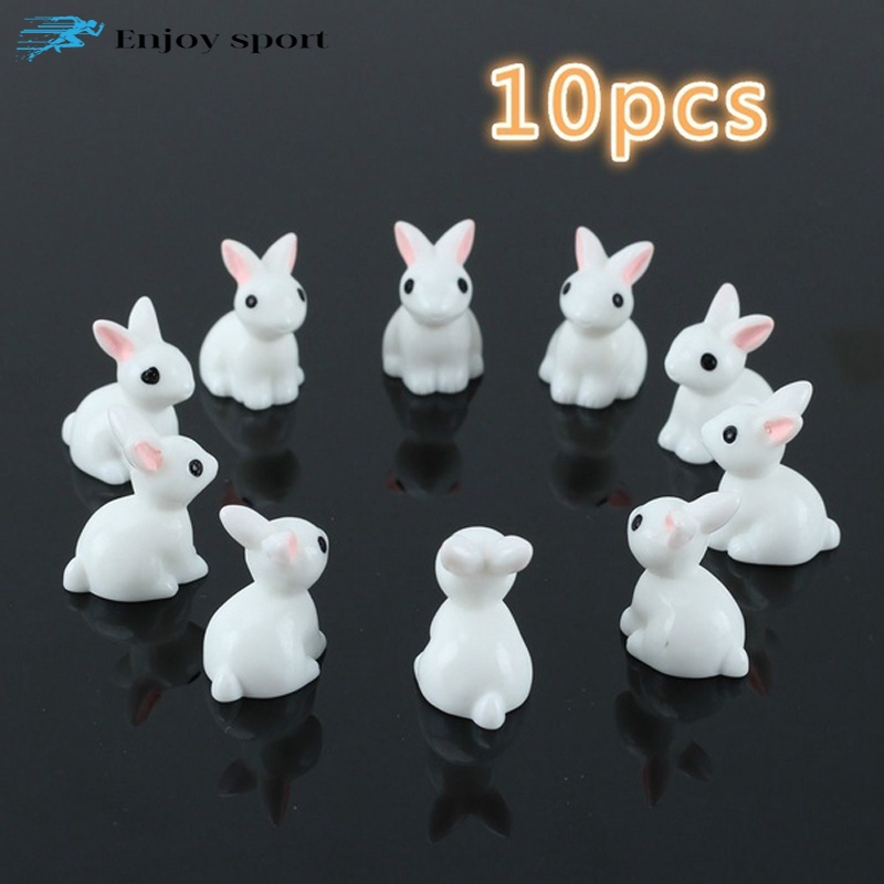 10pcs Mini White Resin Rabbits Figurine Landscape Pot Bonsai DIY Decor Craft