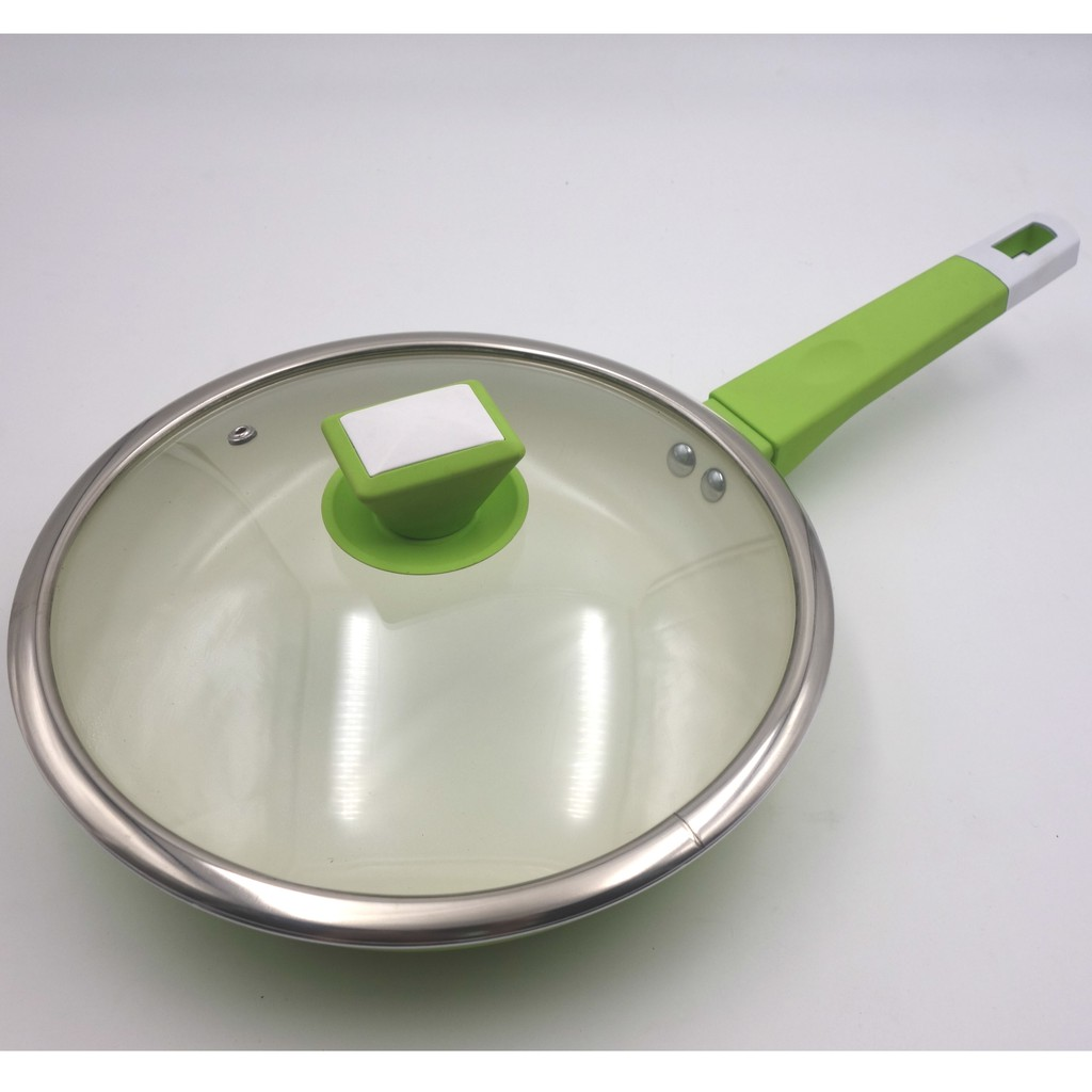 24cm Ceramic Coating Wok Frying Pan with Glass Lid Cover