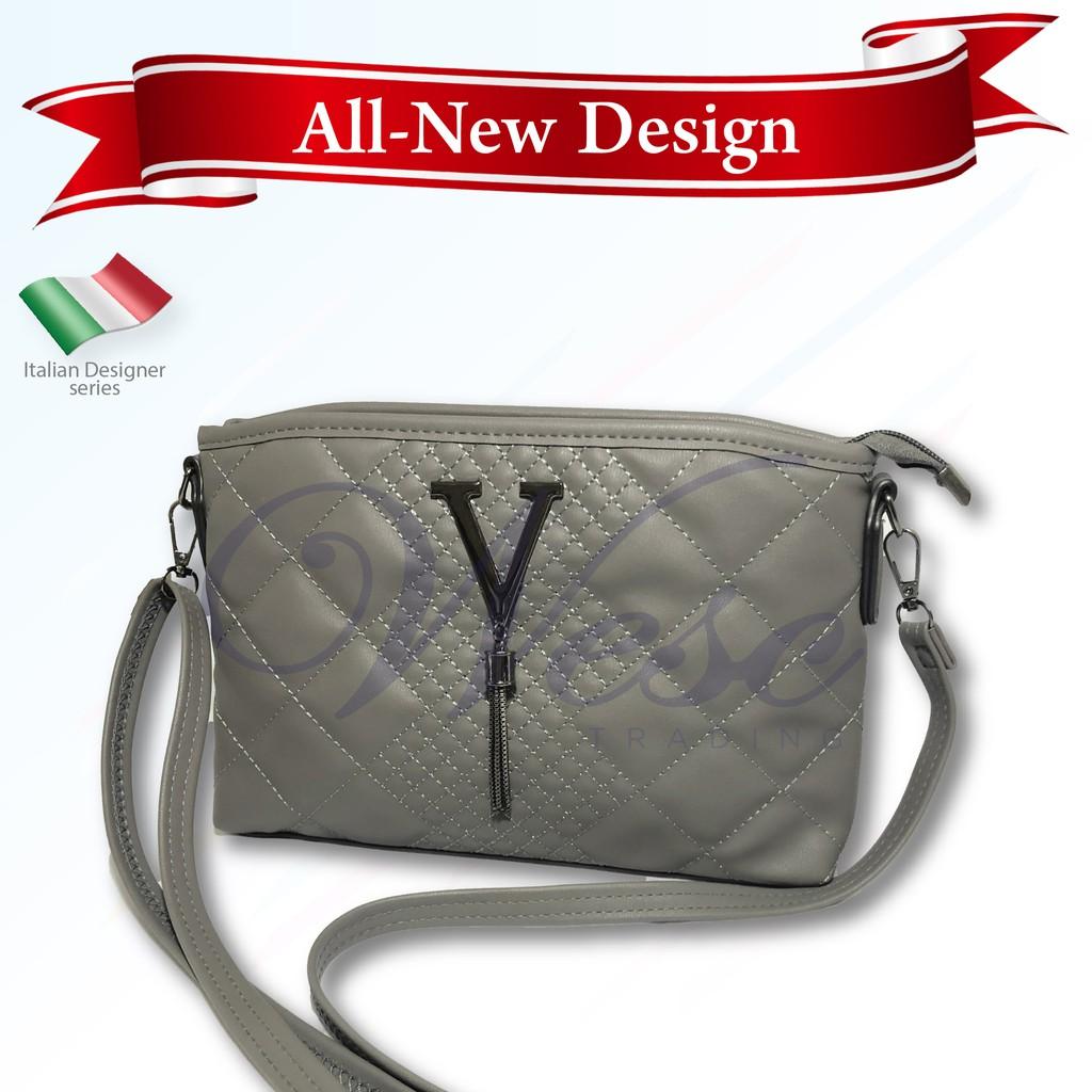 Italian Designer Luxury Leather Sling Bag / Shoulder Bag / Crossbody Bag / Saddle Bag (Grey)