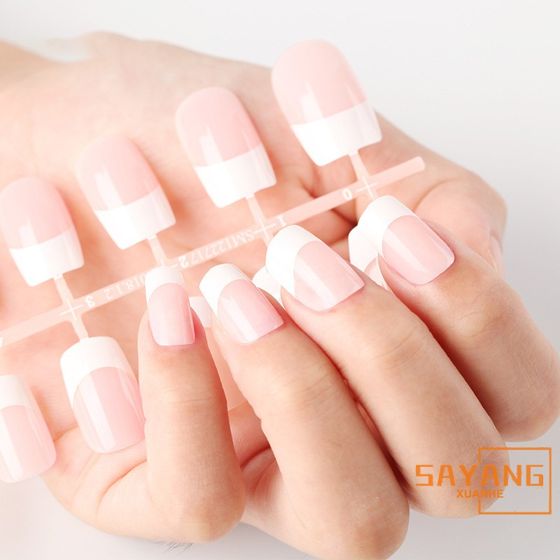 ☆SAYANG☆ Half Cover French Acrylic False Nail Tips Square Medium Pure White Pointed Easy DIY Nail Art Manicure Products