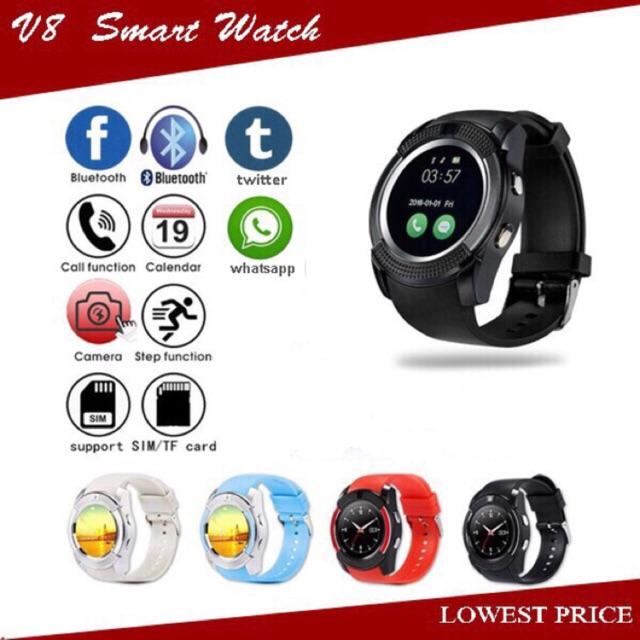 Full Screen Smart Watch V8 Smartphone TF SIM Card Bluetooth Ready Stock