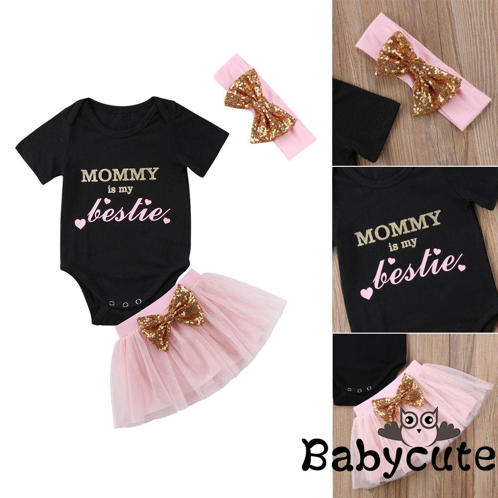 Infant Toddler Baby Girl Outfits 1st Birthday Romper One Top Bow Knot Tutu Skirt 2PCS Summer Clothes