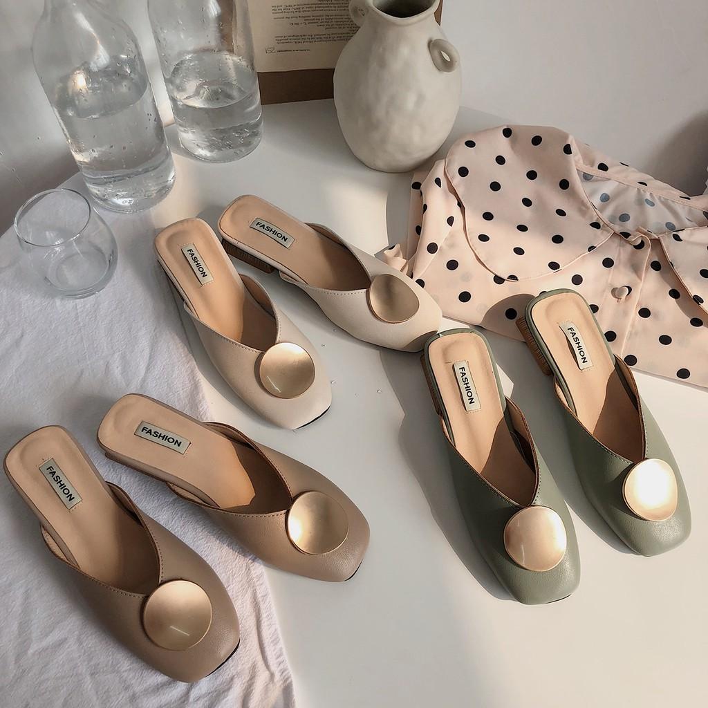 2019 spring new Korean version of Baotou half slippers women wear wild net  red s