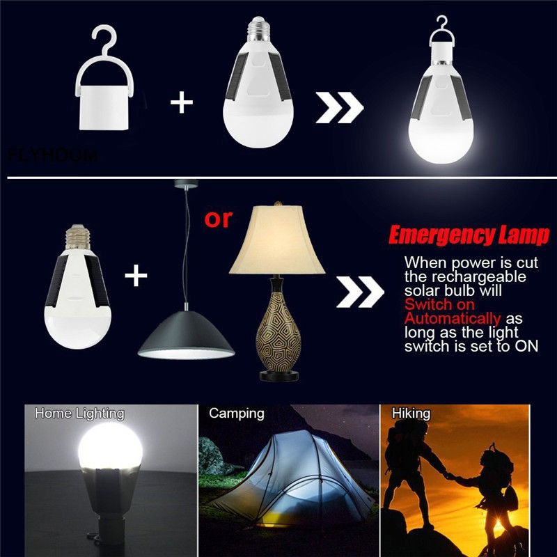 Rechargeable Solar Powered LED Bulb Light Outdoor Garden Camping Tent Lamp 7W