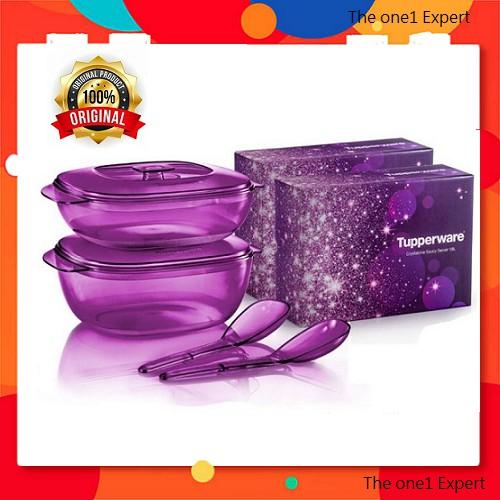 Tupperware Purple Royale Crystalline Serving Set/ Tupperware microwaveable serveware/ Set hidangan tupperware ungu