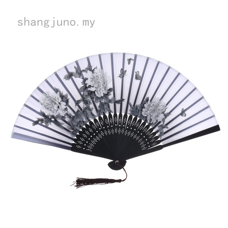 Chinese Black Hand Held Bamboo Silk Butterfly /& Flower Folding Fan Wedding Decor