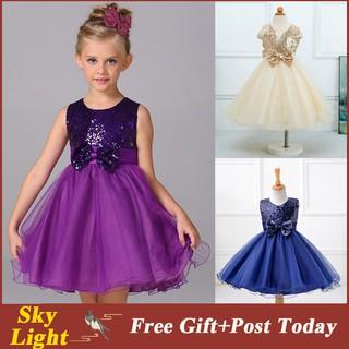 a07107af36 Baby Girls Purple Bow Sequins Dress Party Princess Dress Children ...