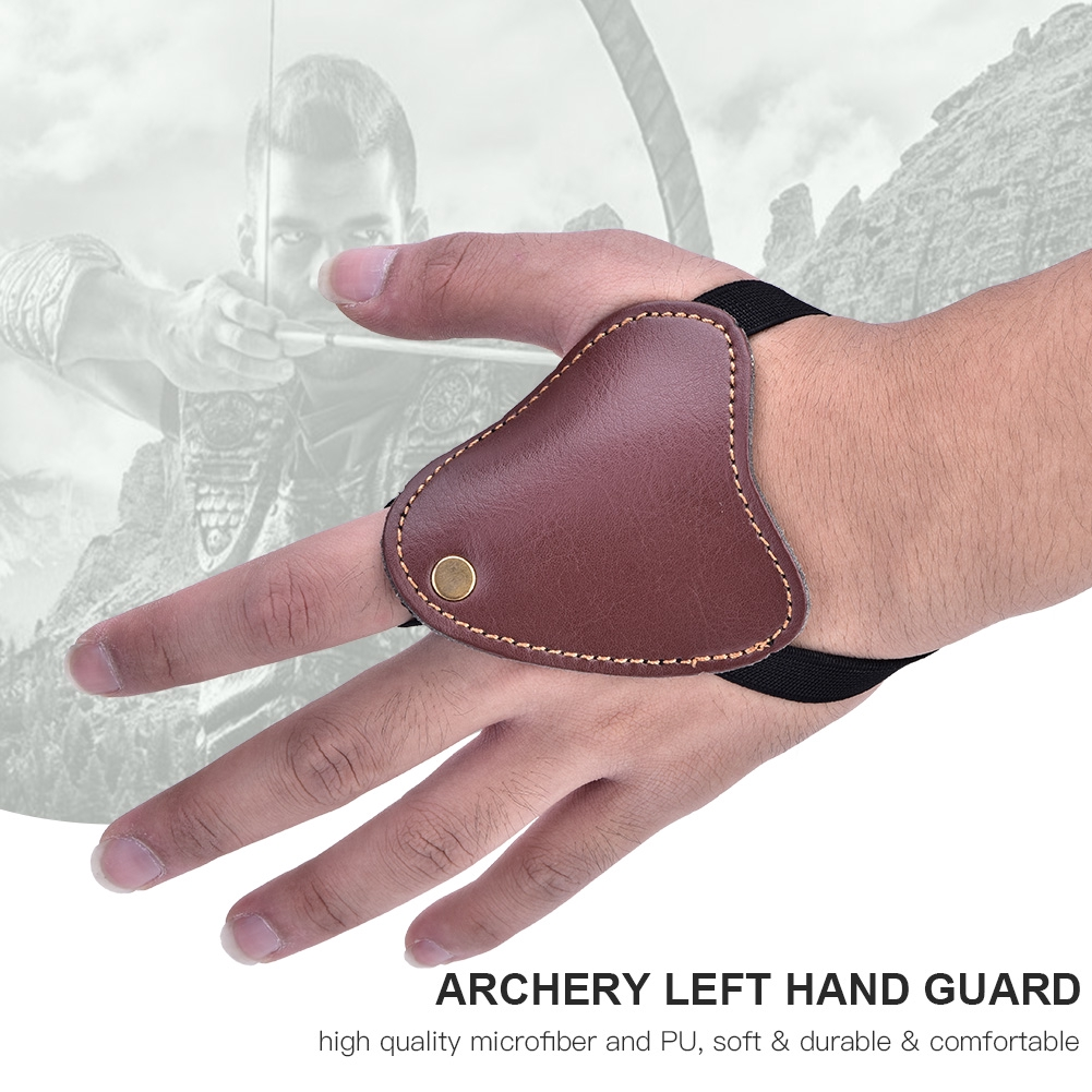 Black//Brown Tbest Archery Left Hand Guard Protector Gloves Archery Bow Arrow Shooting Left Hand Protector PU Protective Gloves