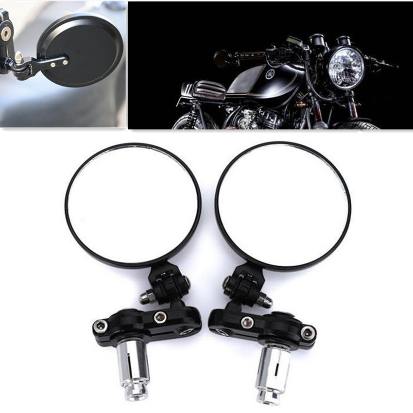 """Motorcycle 3.1/"""" Round 7//8/"""" Handle Bar End Rearview Side Mirrors Foldable Black"""