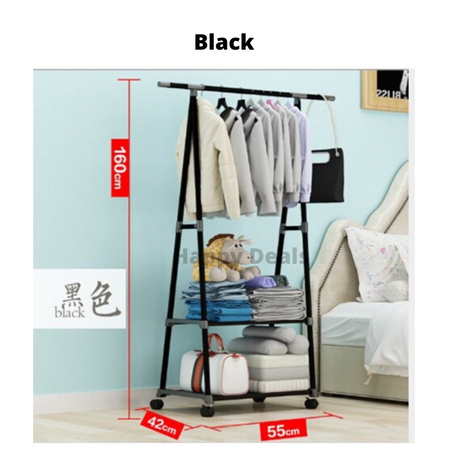 Moveable Garment Rack/ Movable Cloth Hanging Organizer Steel Rack /Triangle Clothes Hanger/ Movable Standing Rack Roller