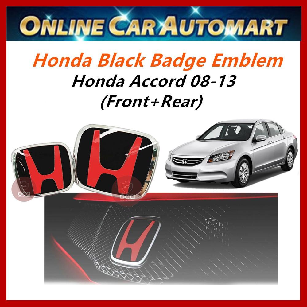Accord 08-13 Front+Rear Black badge logo/Emblem  (S5T-E11 Blk) (SNW-J01 Blk)
