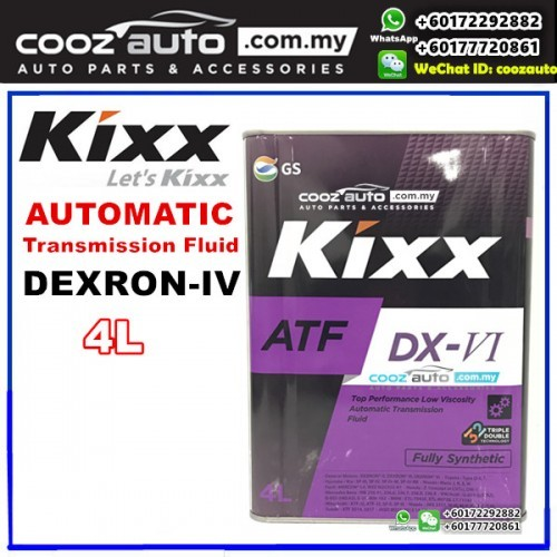 Kixx ATF DX-VI DEXRON-VI Fully Synthetic Automatic Transmission Fluid (4L)