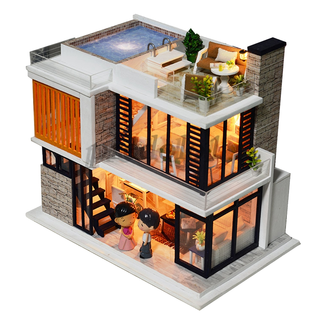 diy wooden dolls house miniature kit led+furniture - tee-story house town
