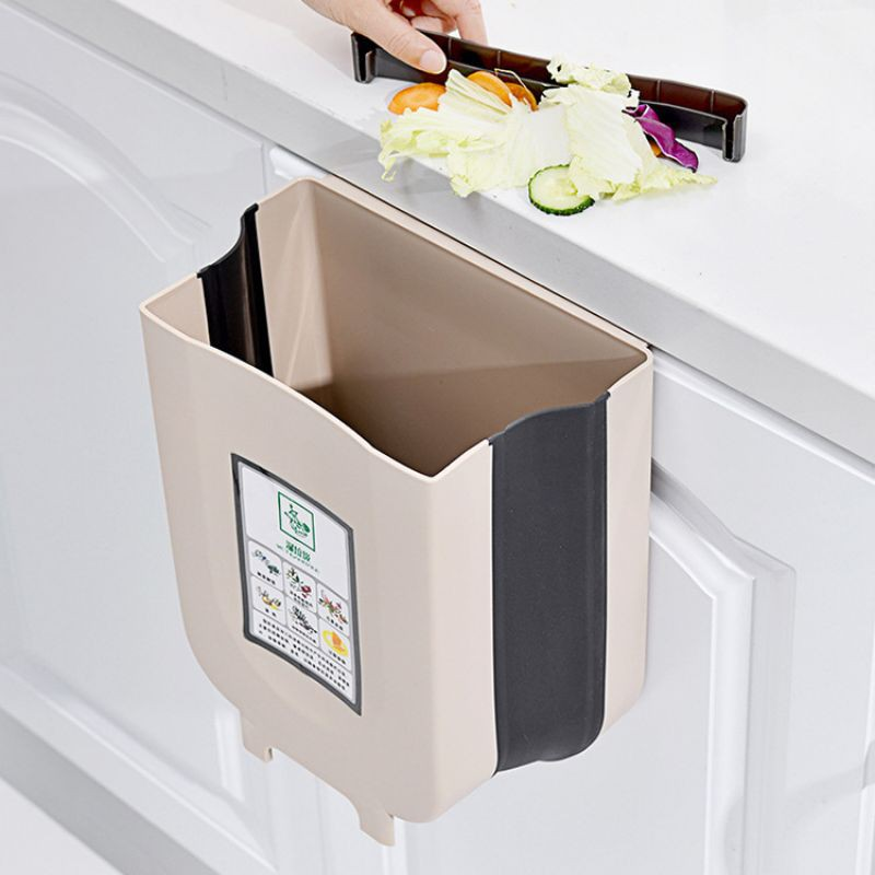 厨房垃圾桶 车载悬挂式折叠垃圾桶家用汽车壁挂收纳桶 拉圾筒Foldable Kitchen Trash Dustbin Kitchen Cabinet Door Hanging Trash Garbage
