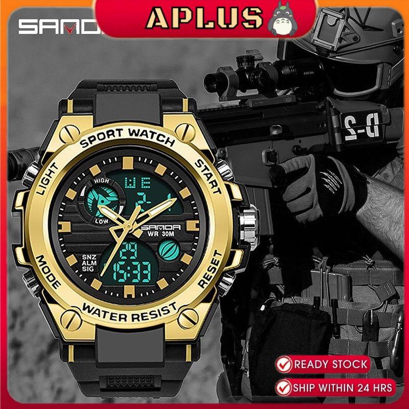 SANDA Men Watch Luxury Waterproof Quartz LED with Multi-function Swimming Watch