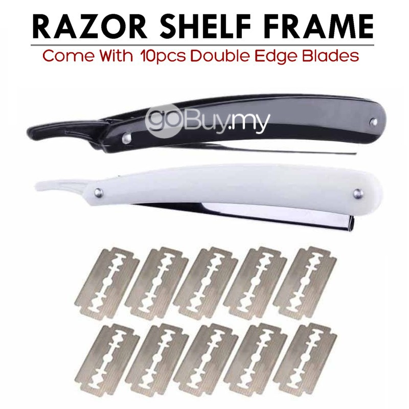 Blade Folding Straight Razor Shelf Frame + 10pcs Blades