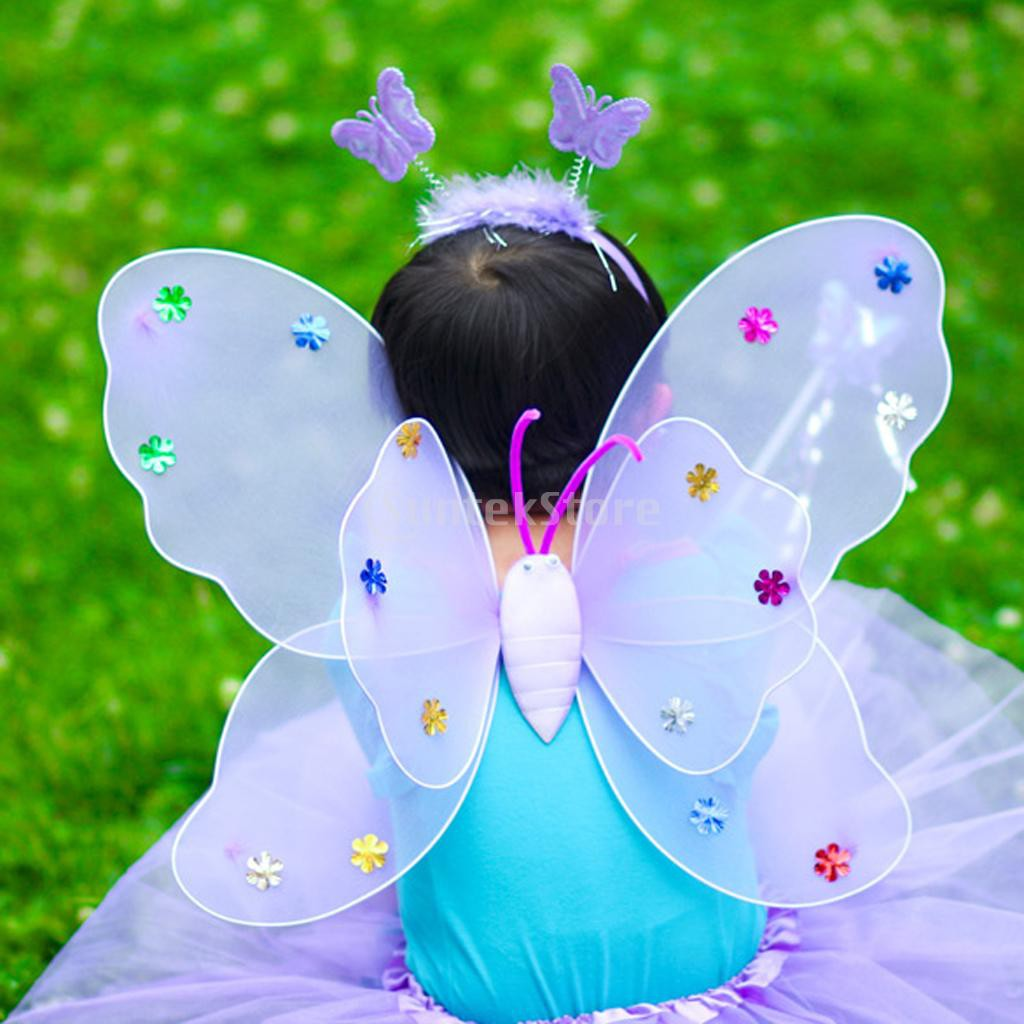 Girls BUTTERFLY FAIRY WINGS Angel Dress Up Set Lilac Fancy Dress Costume Outfit