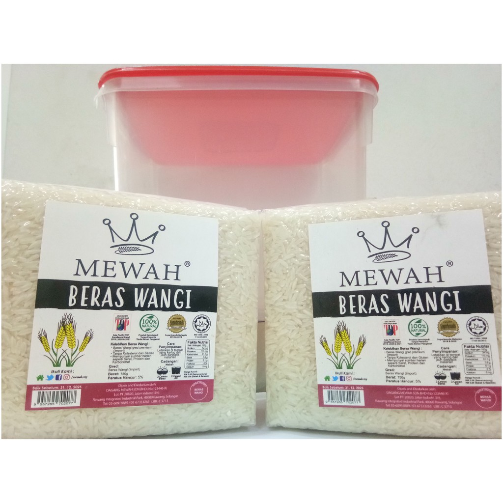 Mewah Beras Wangi 750g Twin Pack Bundle With Container
