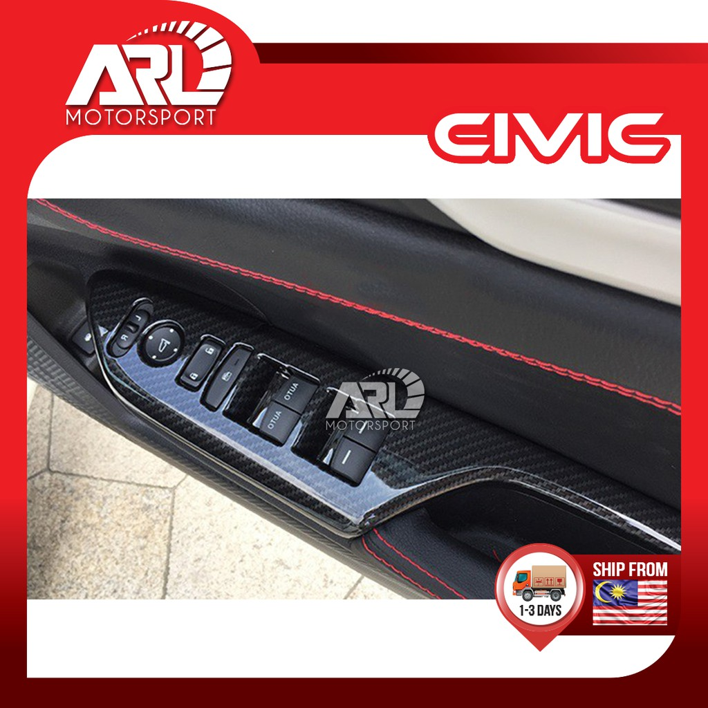Honda Civic (2016-2020)Window Switch Cover Protector Door Switch Panel Carbon Fiber Car Auto Acccessories ARL Motorsport