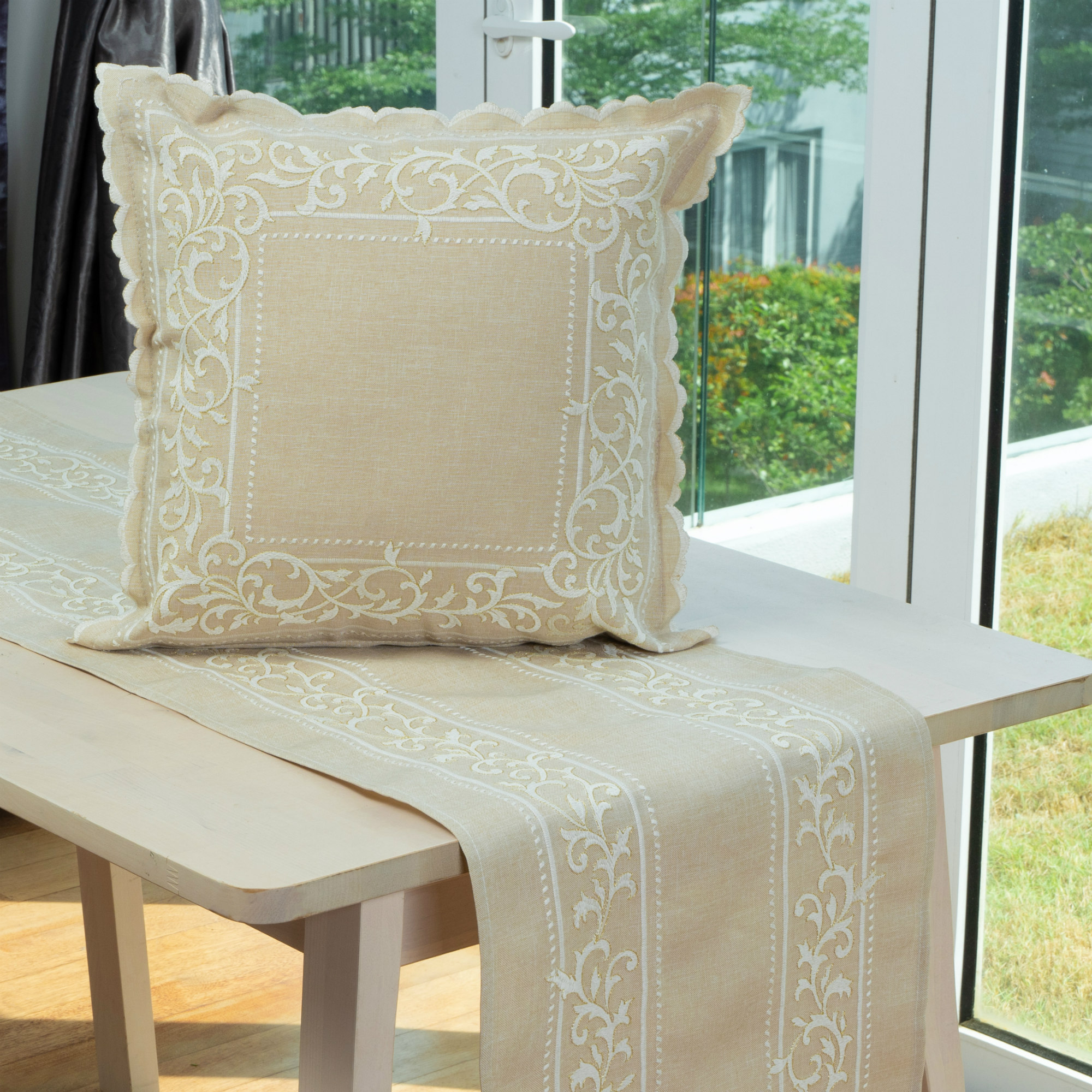 """Lace & Embroidery Royal Oasis Embroidery Cushion Cover With Scalloped Finished Edges. Easy Care Cation Fabric. 45x45cm/18x18"""" (Beige)"""
