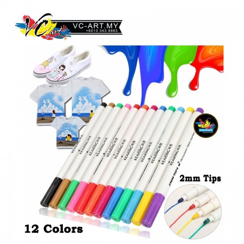 Kearing Permanent Fabric Marker 2mm Tips - W2020 - Pack of 12 Colors