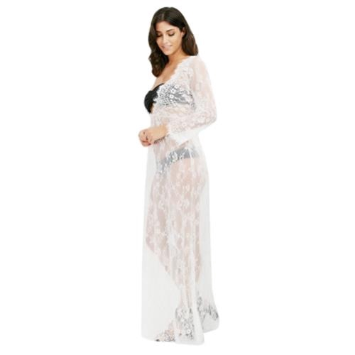 Plunge Neck Long Sleeve See Through Lace Women Maxi Dress White