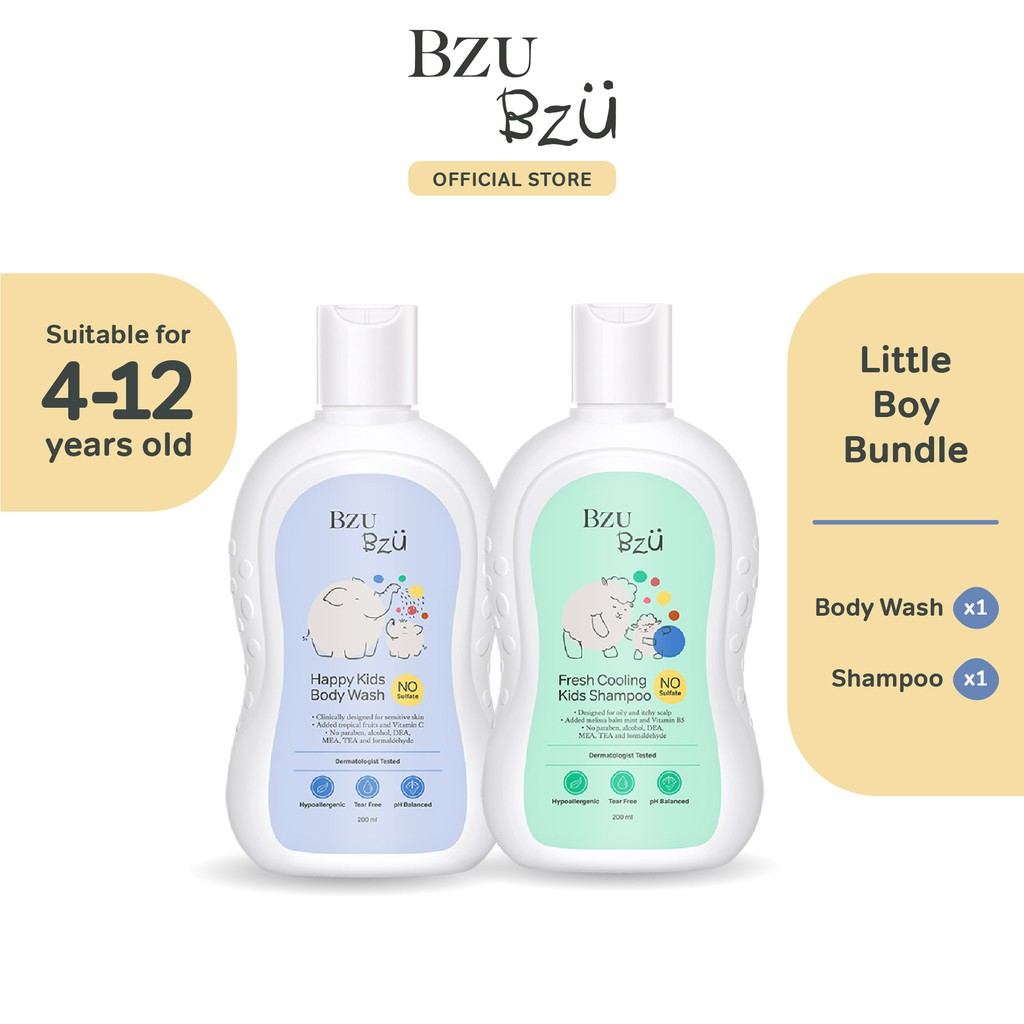 BZU BZU Little Boy Bundle - Fresh Cooling Kids Shampoo (200ml) + Happy Kids Body Wash (200ml)