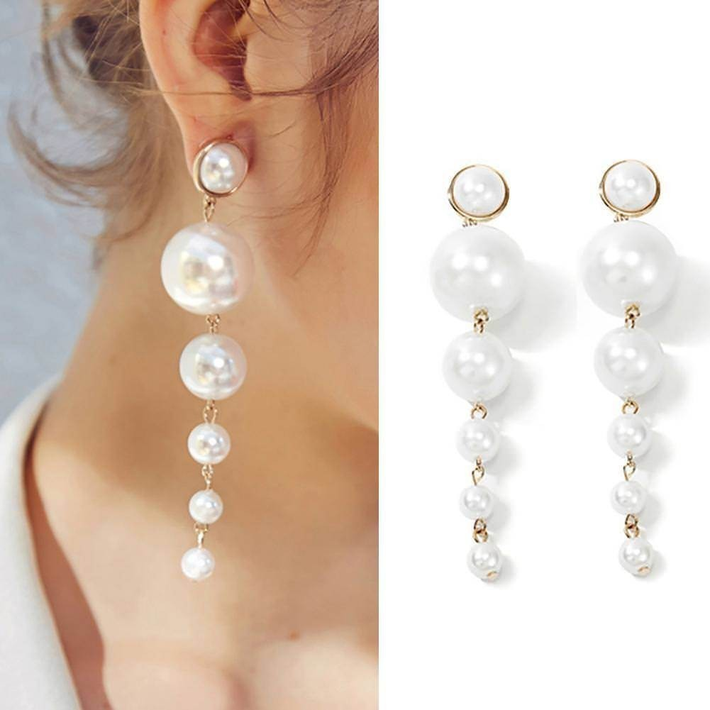 Women Big Simulated Pearl Long Tassel Earrings Crystal Stud Drop Dangle Earrings
