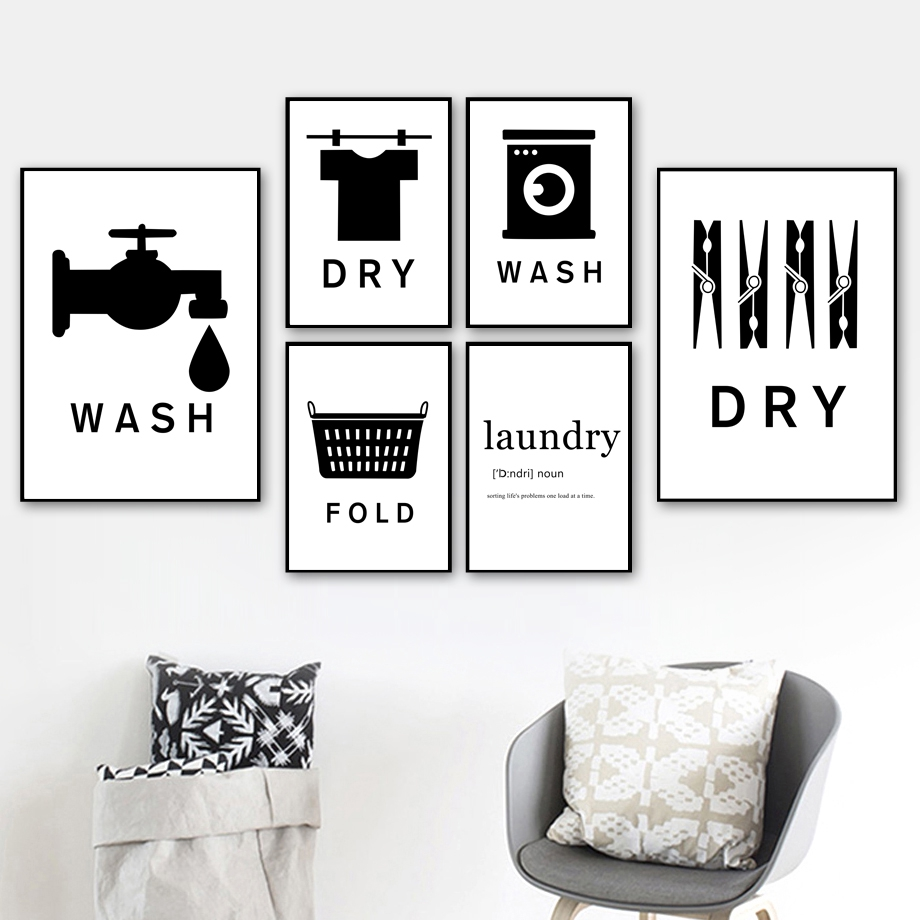 Black White Wash Dry Fold Laundry Logo
