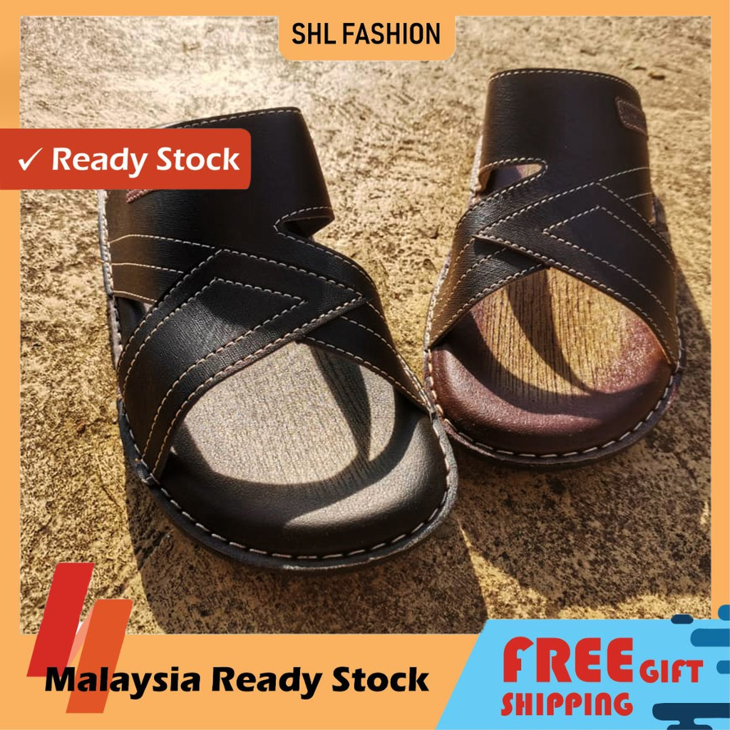 SHL Men PU Leather Sandal Premium Selipar Kasut Lelaki size 6-10【男士拖鞋】-654