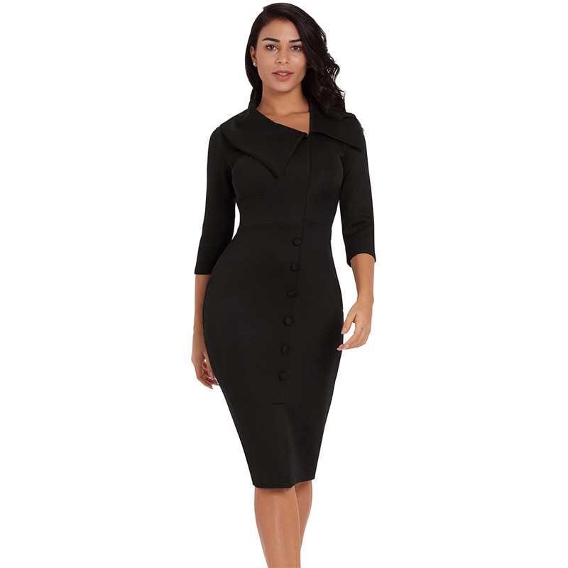 aaa12600b1 Woman Clothing Office Work Pencil Black Long 3/4 Sleeve Button Bodycon Dress