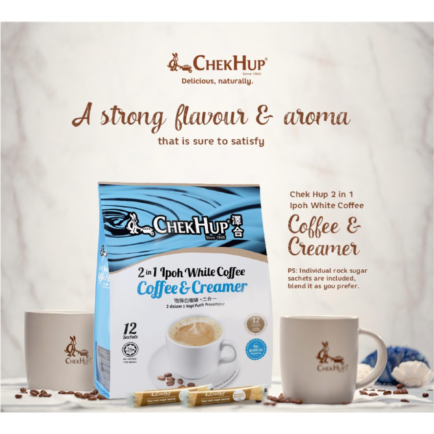 Chek Hup 2 in 1 Ipoh White Coffee & Creamer (30g x 12s) [Bundle of 2]