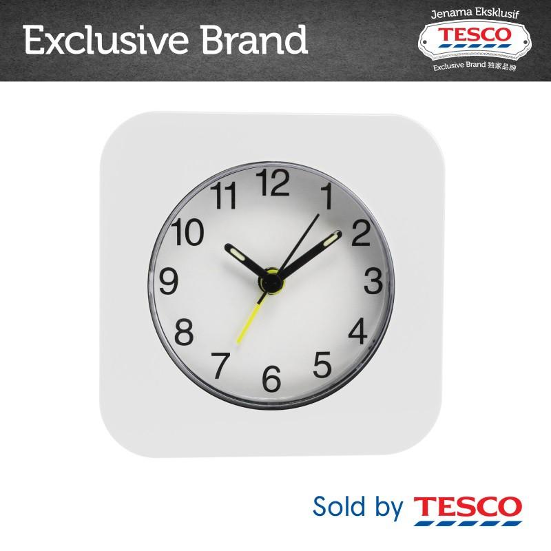 Tesco Square Alarm Clock White 4