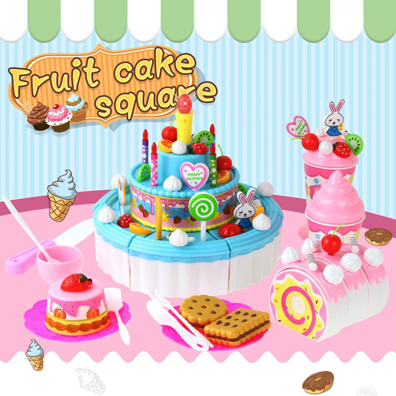 Awesome 103Pcs Big Fruit Cutting Cake Music Light Kids Birthday Cake Birthday Cards Printable Trancafe Filternl