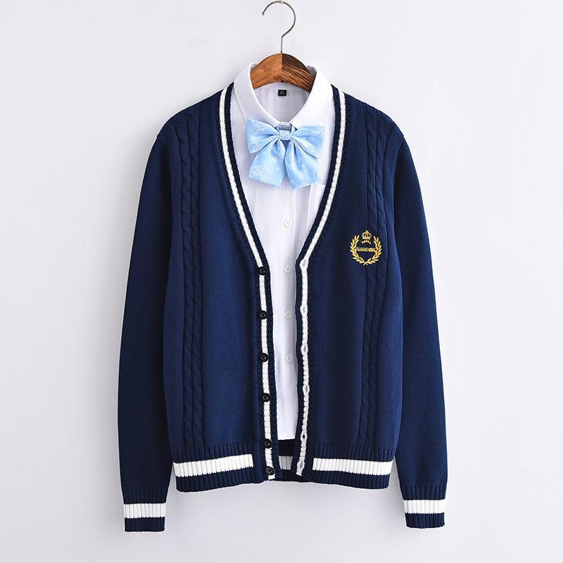 40c9f1e89cd Japanese long-sleeved V-neck sweater Crown embroidered JK uniform cardigan