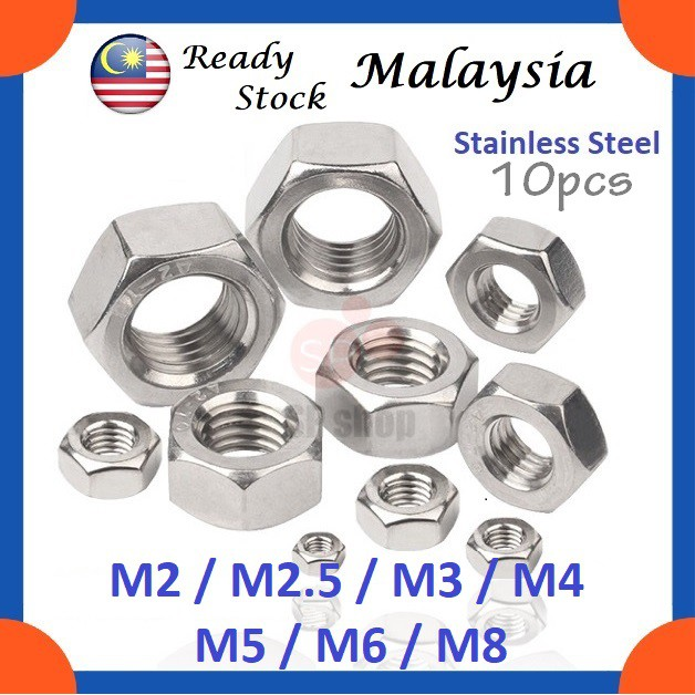 Stainless Steel Metric M3 X 0.5 Hex Nut Din934 A2pack of 20