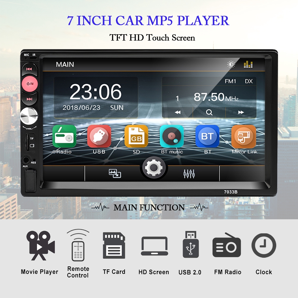 Double Din Car Radio 7'' Resistance Touch Screen with Autoradio Bluetooth  USB AUX TF Function Support Rear View Camera