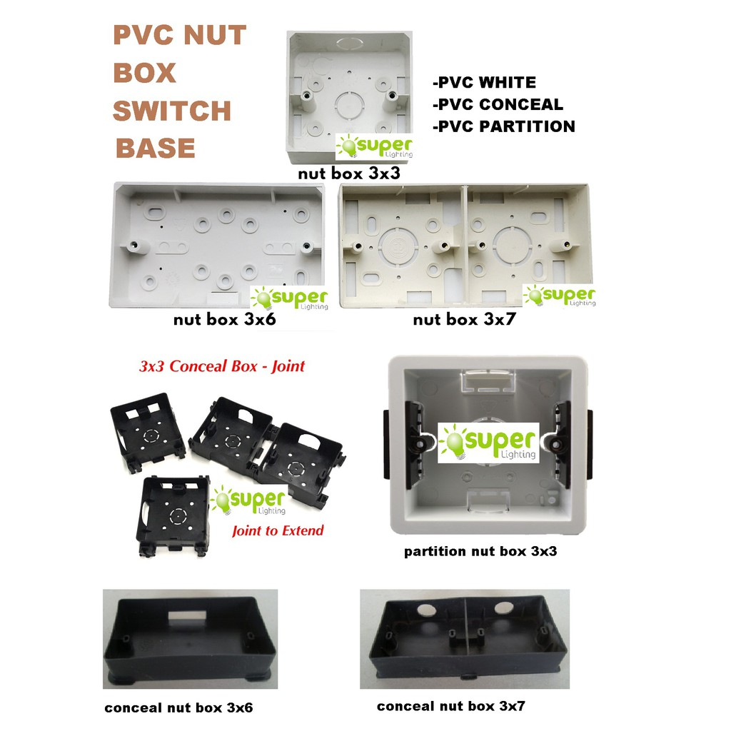 Pvc Nut Box Switch Base Switch Box Socket Surface Mounted