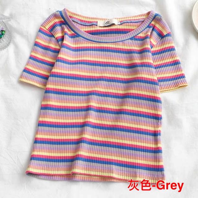 【S~XL】Korean stripe skinny crop top 夏季新款条纹短袖T恤女装港风潮短款性感紧身上衣打底衫