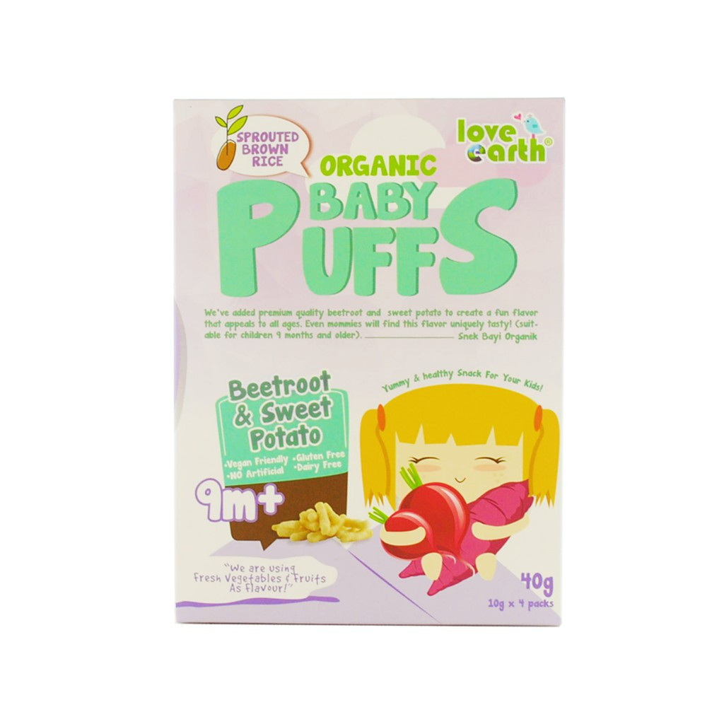 Organic Baby Puffs Beetroot & Sweet Potato 40G (10G X 4 Serving)