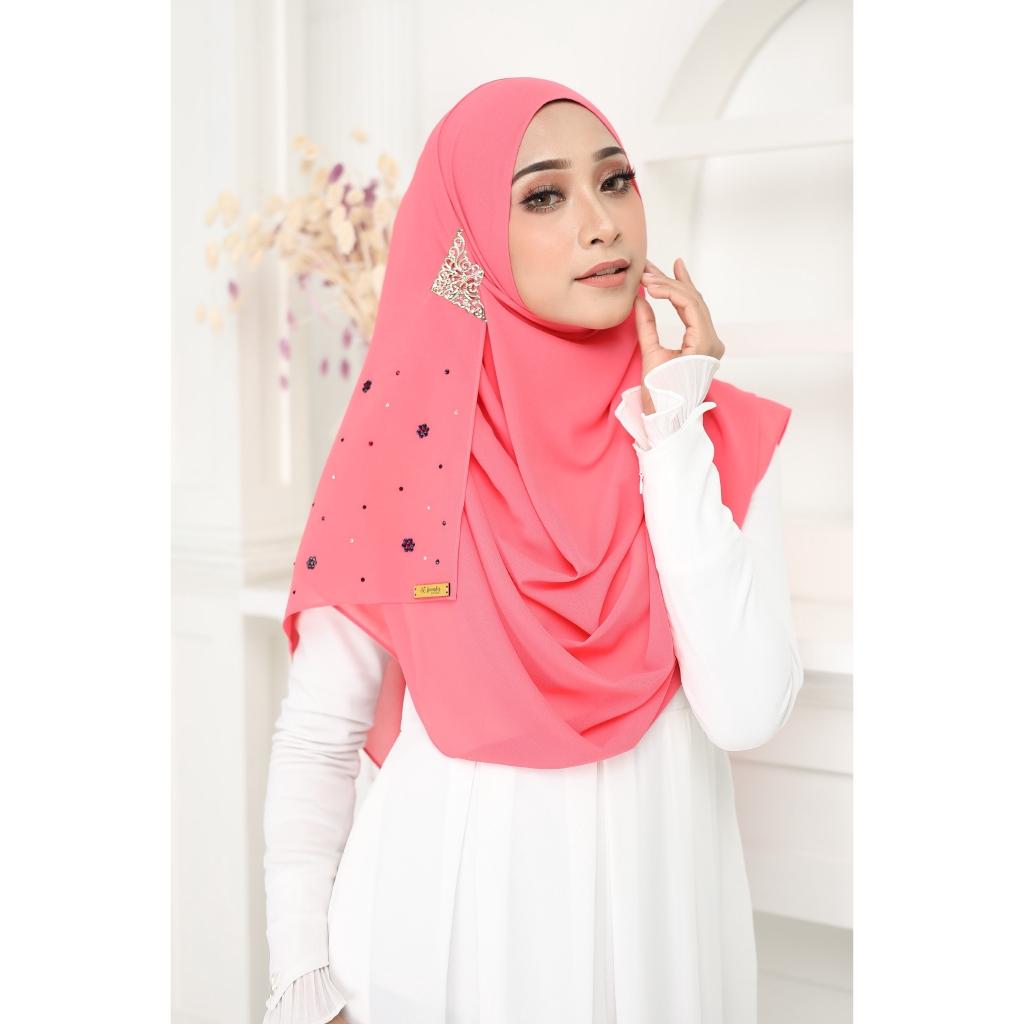 Luxury tudung Jawhara shawl instant Punch Pink