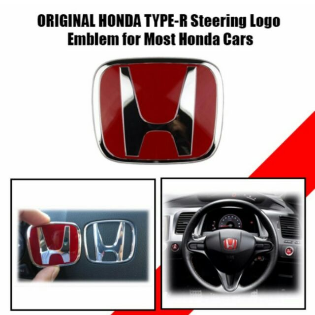 Big Original Honda Type R Steering Logo Emblem For Most Honda Cars